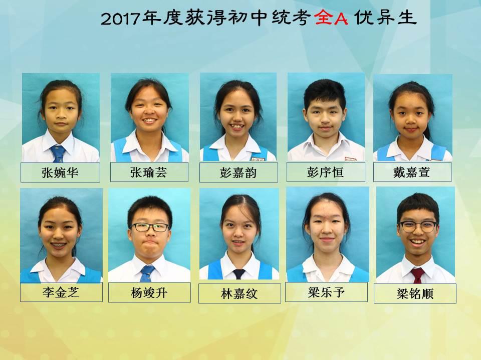 2017年度初中统考优异生名单